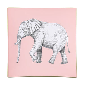 A decorative glass tray with an elephant illustration on a blush pink background finished with an 18kt gold leaf edging