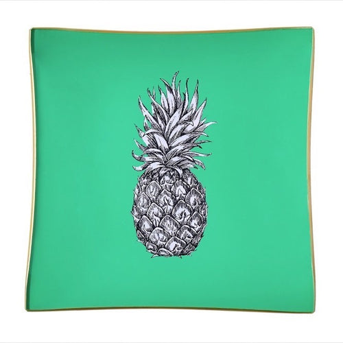 Mint Green Pineapple Glass Tray