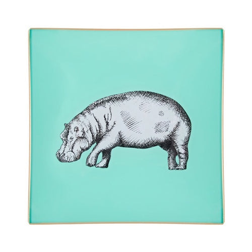 A decorative glass tray with a hippo illustration and aqua background finished with an 18kt gold leaf edging