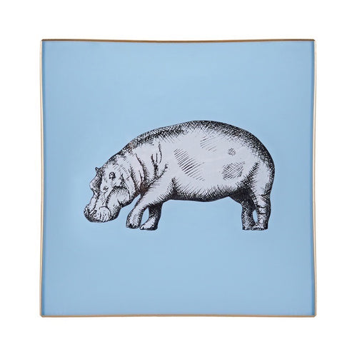 Light Blue Hippo Glass Tray