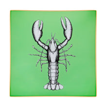 Load image into Gallery viewer, An artisanal, decorative glass valet tray with a lobster illustration on a mid green background finished with an 18kt gold leaf edging