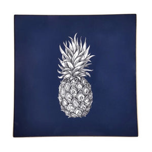 Navy Pineapple Glass Tray