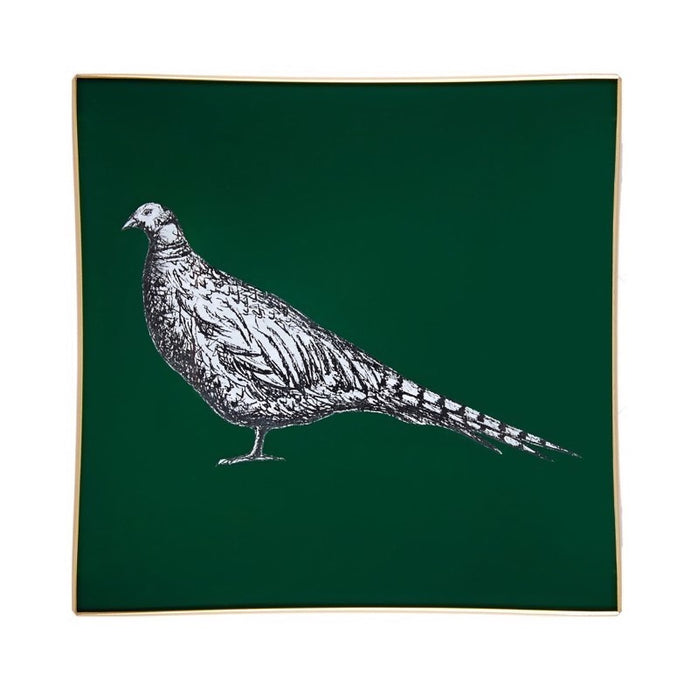 Dark Green Pheasant Glass Tray