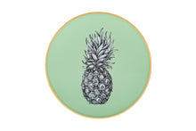 Load image into Gallery viewer, Pale Sage Green Pineapple Round Glass Tray