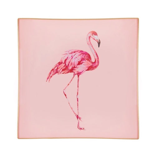 Blush Pink Flamingo Glass Tray