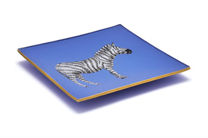 Cornflower Blue Zebra Glass Tray