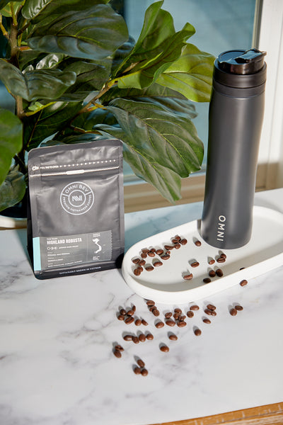 Portable French Press with Robust Coffee beans