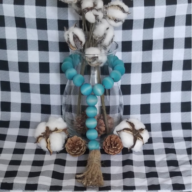 Aqua-Teal Wood Bead Tassel Garland