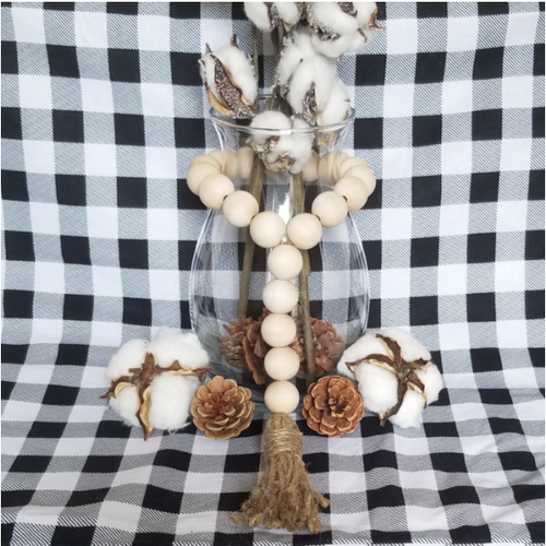 Natural Wood Bead Tassel Garland