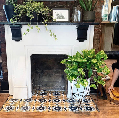 A Fireplace Floor Facelift for Fall