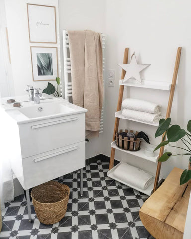 Neutral Bathroom Exudes Boho Luxe in Riad Floor Tile Stickers