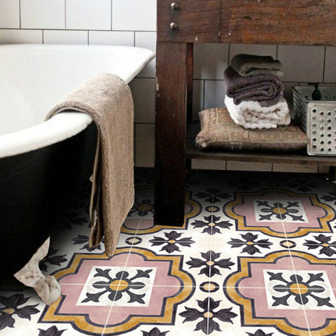 Sick of your bathroom floor? Stick it instead with tile decals