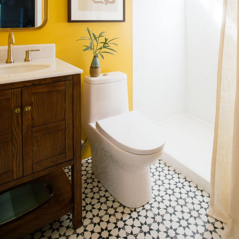 DIY Done Right: How to Tile Sticker Around the Toilet