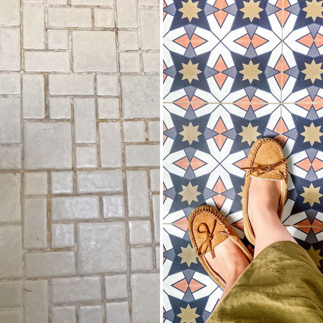 How To Cover Ugly Mosaic Tile Floors The Easy Renter Friendly Way Quadrostyle