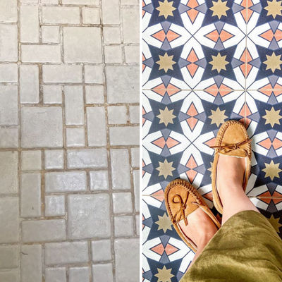 How to Cover Ugly Mosaic Tile Floors: The Easy & RENTER-FRIENDLY Way!