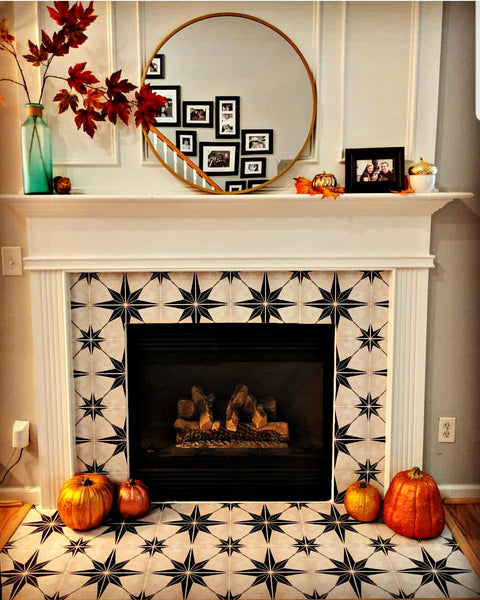 Decorate your fireplace surround with tile stickers