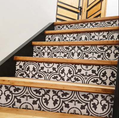 Trefle in Black Stair Riser Stickers