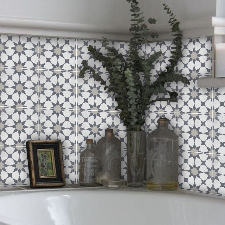 Agadir in Grey Vinyl Tile Sticker