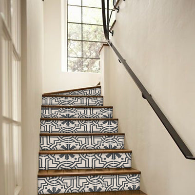 Stair Riser Stickers - Stair Riser Tile Decals - Agrigento Ink Blue 6pcs 48inch