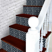 Stair Riser Stickers - Stair Riser Tile Decals - Arabelle Black 6 unit 4