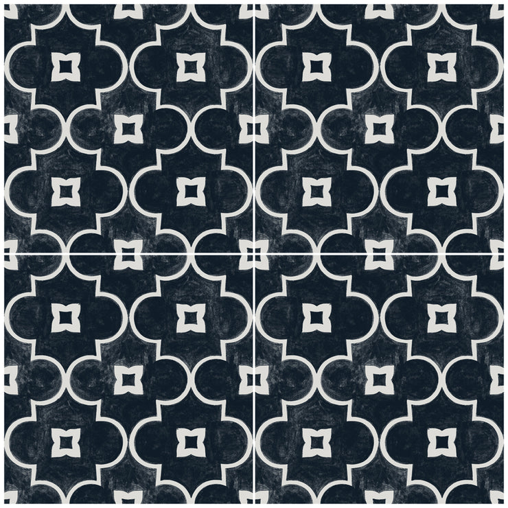 Vinyl Floor Tile Sticker - Arabelle in Black