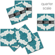 Vinyl Tile Sticker Pack for Kitchen, Bathroom & Floors Arabesque in Teal