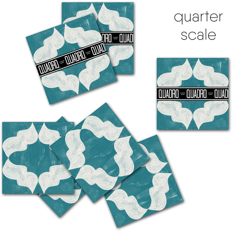 Arabesque in Teal Vinyl Tile Sticker