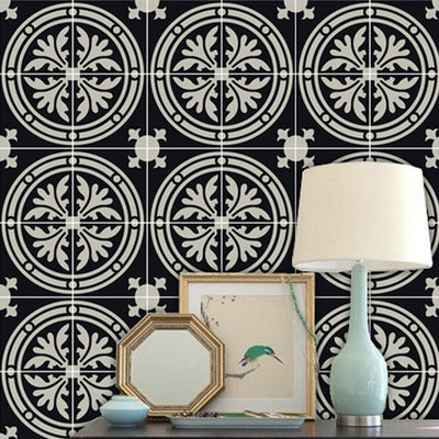 Vinyl Tile Sticker Splash Barolo Removable Vinyl Wallpaper in Black