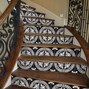 "Stair Riser Stickers - Stair Riser Tile Decals - Barolo Black 6 units 48"" long"