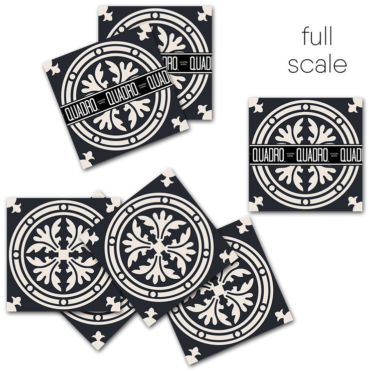 Vinyl Tile Stickers Pack for Kitchen, Bathroom & Floors Barolo in Black