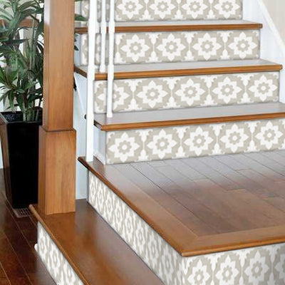 "Stair Riser Stickers - Stair Riser Tile Decals - Campagne Sand 6 unit 48"" long"