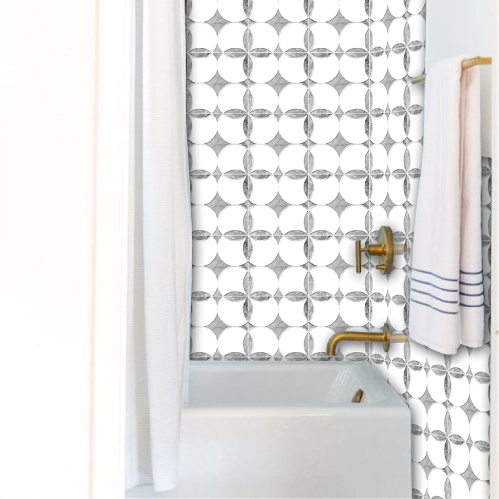Asia Carrera Marble carrera marble effect tile stickers pack in grey - kitchen