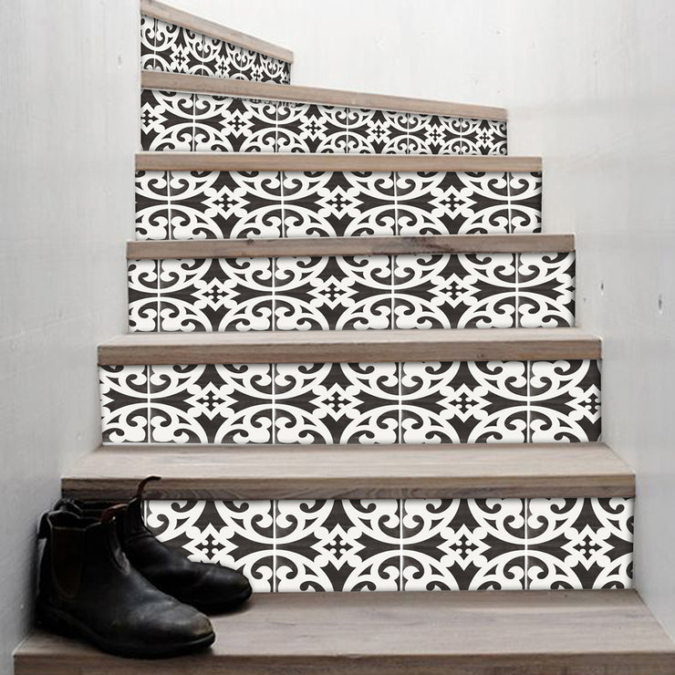 "Stair Riser Stickers - Stair Riser Tile Decals - Citadel Black  6 units 48"" long"