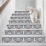 "Stair Riser Stickers - Stair Riser Tile Decals - Corona Ink 6 units 48"" long"