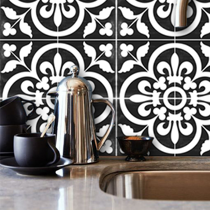 Tile Sticker Splash back - Removable Vinyl Wall Decal Corona Black