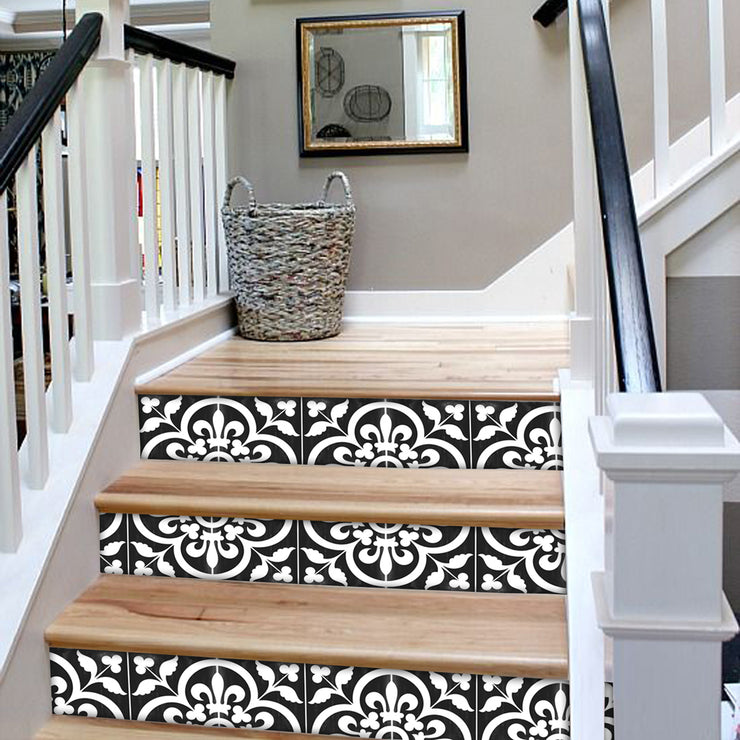"Stair Riser Stickers - Stair Riser Tile Decals - Corona Black 6 units 48"" long"