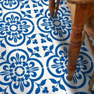 SALE! Vinyl Floor Tile Stickers - Corona in Princess Blue