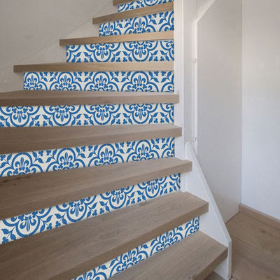"Stair Riser Stickers - Stair Riser Tile Decals - Corona Blue 6 unit 48"" long"