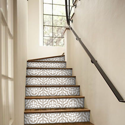 "Stair Riser Stickers - Stair Riser Tile Decals - Corona Taupe Grey 6 units 48"" long"