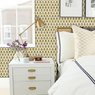 Diamond Removable Vinyl Wallpaper in Mustard