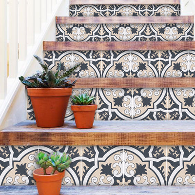 "Stair Riser Stickers - Stair Riser Tile Decals - Firenze 6 units 48"" long"