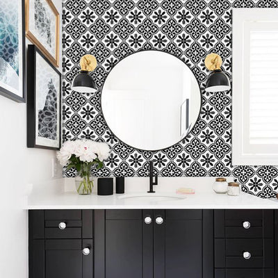 Vinyl Tile Sticker Splashback Floc Removable Vinyl Wallpaper in Black
