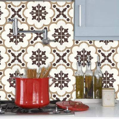 Vinyl Tile Sticker Pack for Kitchen, Bathroom & Floors in Genova Greige