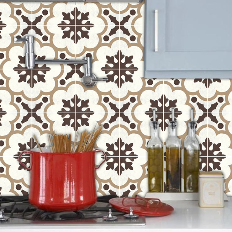 Vinyl Tile Sticker Splash back - Removable Vinyl Wall Decal Genova Greige