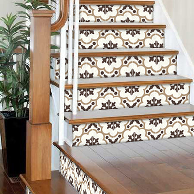 "Stair Riser Stickers - Stair Riser Tile Decals - Genova Greige 6 units 48"" long"