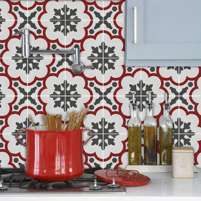Vinyl Tile Sticker Splash back - Removable Vinyl Wall Decal Genova Rouge