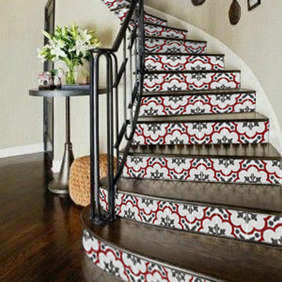 "Stair Riser Stickers - Stair Riser Tile Decals - Genova Rouge 6 units 48"" long"