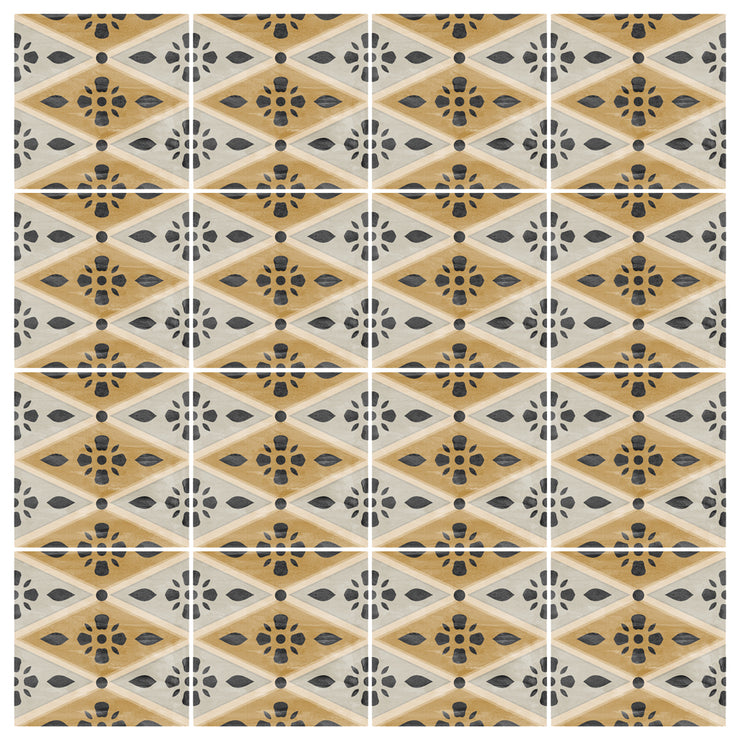 Vinyl Tile Stickers Pack in Harlequin Ochre for Kitchen, Bathroom & Floors