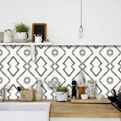 Vinyl Tile Sticker Splashback Harlow Removable Wallpaper in Cream & Black