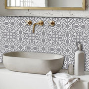 Vinyl Tile Stickers Pack in Lys Grey for Kitchen, Bathroom & Floors